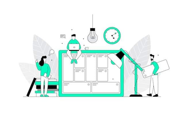 9 Elemente Business Model Canvas als Icon set mit 3 personen dargestellt die an einem Canvas arbeiten
