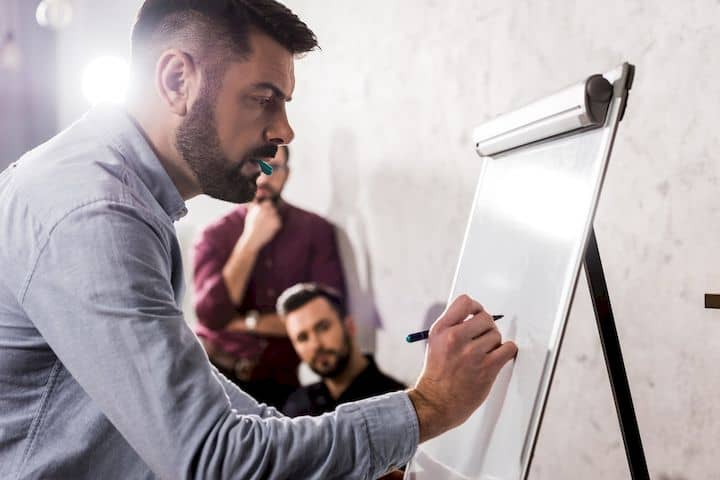 Mann mit Bart zeigt FLIPCHARTGESTALTUNG TIPPS